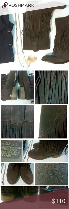"Lucky Brand Brn Genuine Leather Fringe Boot *These Lucky Boots are so fantastic!  They are brown genuine suede leather, with fabulous fringe.  They have a fabric lining, and man made sole.  They're slip on, no zipper.  The heel is approx 1 3/4"".  They have been worn once, and have minor signs of wear.   Overall they are in great condition.  They are such a beautiful well made boot.  Lucky is known for thier quality products.   These would add that extra touch and flare to any outfit!* Lucky…"