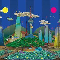 blindness city의 전작. 2015 화려한 도시 fancity. always awake - #architecture #illustration #artwork #digitalart #drawing #skyscraper #landmark #seoul #korea #southkorea #city #urban #town #building #sun #moon #한강 #남산 #일러스트 #일월오봉도 #동양화 #illust #parody #alwaysawake #travel #서울 #seoulite #painting #koreanpainting #architecturedrawing Seoul City Tour Bus, Map Design, Graphic Design, San Francisco Map, Border Embroidery Designs, Permaculture Design, Korean Art, Book Layout, Detail Art