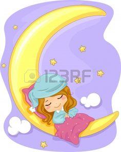 lindo beb durmiendo en la luna con la ilustracin de dibujos