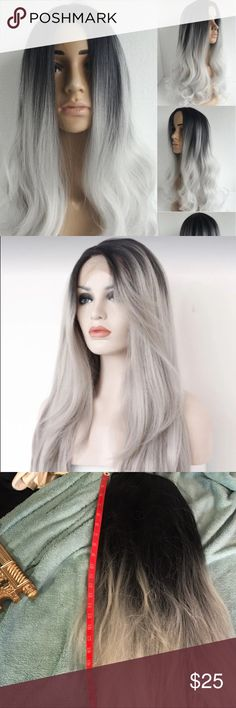 Grey wig 28 to 30 inches long gray and black synthetic wig only worn once for a party. Accessories Hair Accessories