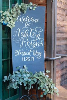 What a pretty sign at this Rustic Baptism Party! See more party ideas and share yours at CatchMyParty.com #baptism #partysign