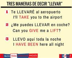 Spanish vocabulary - Llevar