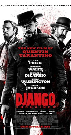 Directed by Quentin Tarantino. With Jamie Foxx, Christoph Waltz, Leonardo DiCaprio, Kerry Washington. With the help of a German bounty hunter, a freed slave sets out to rescue his wife from a brutal Mississippi plantation owner. Top Movies, Great Movies, Movies And Tv Shows, Indie Movies, Samuel Jackson, Christoph Waltz, Doc Holliday, Martin Luther King, 2012 Movie