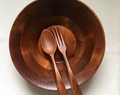 Baribocraft salad bowl and serving fork + spoon, midcentury modern, Made in Canada b&c vintage shop by BandCHome on Etsy Salad Bowls, Midcentury Modern, Kitchenware, Fork, Vintage Shops, Spoon, Etsy Seller, Mid Century, Canada