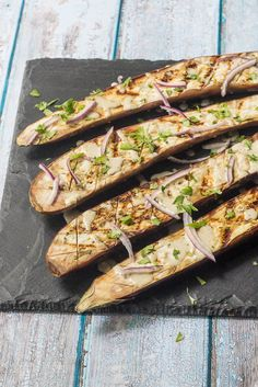 Grilled Eggplant with Tahini Sauce - a healthy, easy recipe for meatless meals