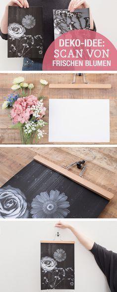 DIY-Anleitung für Wanddeko: Scan von frischen Blumen, Blumen DIY / diy tutorials: use fresh flowers for wall decoration, crafting wallart via DaWanda.com