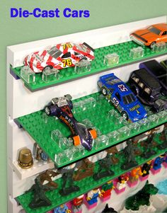 Use your LEGO plates to display your diecast cars and Hot Wheels. Display Panel, Glass Figurines, Lego Brick, Hot Wheels, Sea Shells, Diecast, Plates, Cars, Collection