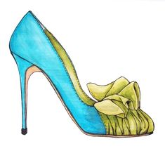 Illustration by Shoes, Kisses and Palm Trees # inspired by Manolo Blahnik shoes # watercolor