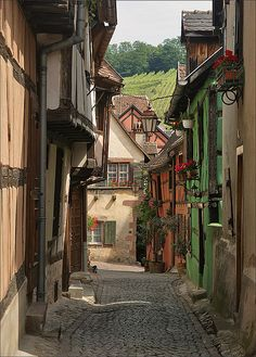 Alley in Riquewihr, Alsace, France