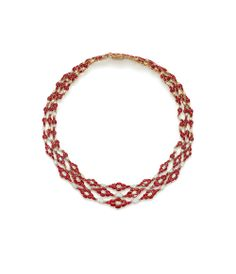 Ganjam necklace, from the Ikat collection, set with diamonds and rubies and inspired by the traditional Ikat weave of India.