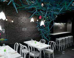 LIGHTING for Modern Small Restaurant Design in Black White Ideas