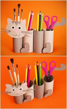This cute Paper Roll Cat Craft is a great back to school craft and fun recycled project to get kids excited for school! Fill with pencils, erasers and other items to get your kids ready to learn. Kids Crafts, Recycled Crafts Kids, Cat Crafts, Craft Activities For Kids, Animal Crafts, Preschool Crafts, Projects For Kids, Diy For Kids, Craft Projects