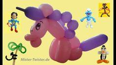 Ballon Pferd Einhorn, balloon horse unicorn, Modellierballon Ballonfiguren Animals Tiere - YouTube