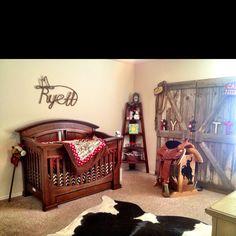 Cowboy nursery -love the barn door