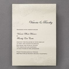 Embossed Lace Wedding Invitation 40% Off | http://mediaplus.carlsoncraft.com/Wedding/Wedding-Invitations/3150-FV13455-Embossed-Lace--Invitation.pro | FV13455 Sometimes, it's the subtle details that make the biggest impression. Like these embossed lace designs on an ecru shimmer wedding invitation - sophisticated wow!