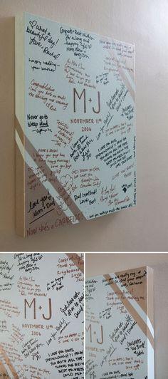 Friends sign a canvas