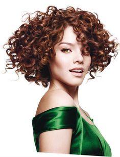 Curly dark auburn bob hair cut