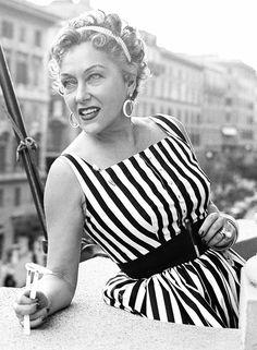 "gloriaswanson: "" Gloria Swanson on the terrace of her hotel in Via Veneto Rome, Italy July, 1954 """