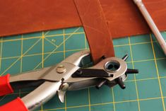 The DIY Leather Handles You Need to Make for Your Drawers - Red Leaf Style Leather Pieces, Leather Belts, Diy Leather Handle, Light Gray Paint, Punch Tool, Red Leaves, Old Dressers, Craft Stores, Thrifting