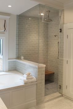 Gray Subway Tile Carried Over From Shower To Behind Tub  Shower Next To  Tub  Half Wall And Euro Glass Surround