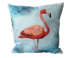 Pillow case of the Flamingo in 24x24 inch 60x60cm for throw pillow or accent pillow cushion cover, decorator pillow