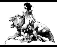 I love this one by Frank Frazetta. Great shaddow work, simplicity , composition