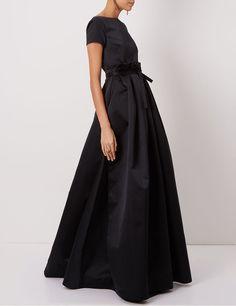 Black Satin Full Skirt Duchesse Gown