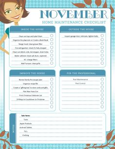 November Organization and Home Repair Checklist [printable] – Tip Junkie Spring Cleaning Checklist, Weekly Cleaning, Cleaning Lists, Cleaning Schedules, Speed Cleaning, Reward Chart Kids, Rewards Chart, Kids Rewards, Cleaning Baking Sheets