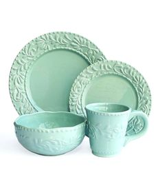 Jade Bianca Leaf 16-Piece Dinnerware Set