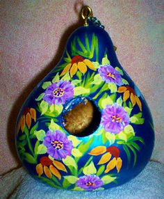 Dragonflies Black Eye Susans on Metallic Blue Color Gourd Birdhouse Garden Art   eBay