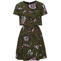 Women's Topshop Floral Overlay Dress (€68) ❤ liked on Polyvore featuring dresses, vestidos, topshop, green pleated dress, green short sleeve dress, short sleeve floral dress, green flower dress and green dress