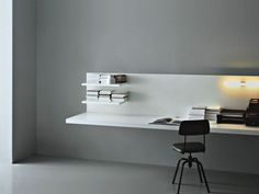 Wooden desk / contemporary / for hotels / wall-mounted WEB Porro Wall Desk, Desk Shelves, Italian Interior Design, Contemporary Desk, Wooden Desk, Minimalist Home, Office Interiors, Home Office, Interior Architecture