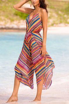 4fa8ecf1b8dc Deep V-Neck Elastic Waist Printed Striped Jumpsuit  womenjumpsuits   stripedjumpsuits  vneck Striped