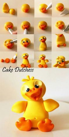 Duck by cake Dutchess Polymer Clay Figures, Polymer Clay Animals, Fondant Figures, Polymer Clay Projects, Fimo Clay, Fondant Toppers, Fondant Cakes, Cake Fondant, Cake Dutchess