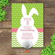$14.50 Bunny Birthday or Easter Invitation Printable from PaperFoxDesign. Glue on a cotton ball tail, too cute! Click to buy now and get 10% off with coupon PIN10! #bunny #birthdayprintable