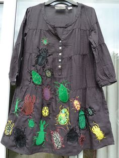 Embroidered and appliqued beetle stampede dress by Naomi Guppy, Gnommi via Flickr. - great inspiration!