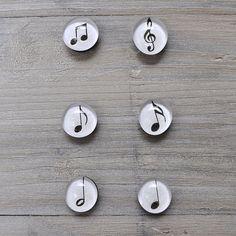 Rondes aimants de note de musique verre ensemble par FoggyCottage