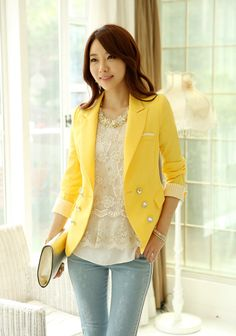 Free Shipping New Arrival Korea Style yellow Blazers Clothes coat for Women Candy Color white red for Ladies Top 2013 Autumn-in Blazer & Sui...