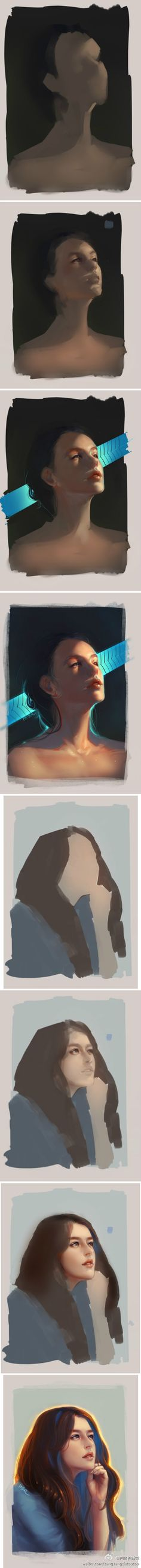I love seeing how illustrations are made. Digital Painting Tutorials, Digital Art Tutorial, Art Tutorials, Painting Process, Process Art, Painting & Drawing, Girl Pose, Chef D Oeuvre, Art Studies