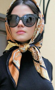 Elegant retro way to wear a scarf...