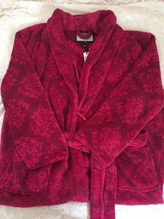 Womens-Berry-Pink-Fleece-Robe-Winter-Snowflakes-Bathrobe-Nicole-Miller-Large-NEW