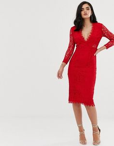117dce896 ASOS Long Sleeve Lace Midi Pencil Dress | ASOS Pencil Dress, Asos, High Neck
