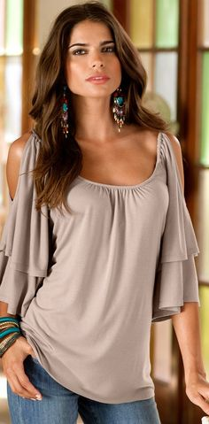 I like this A LOT!   Cold Shoulder Peasant Top and earrings