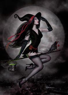 Night Flight by Wagner on DeviantArt Fantasy Art Women, Dark Fantasy Art, Fantasy Artwork, Beautiful Witch, Beautiful Dark Art, Halloween Imagem, Halloween Art, Fantasy Witch, Witch Art
