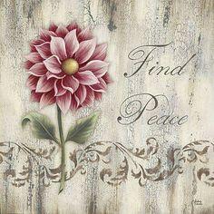 Find Peace by Andrea Roberts art print Vintage Diy, Vintage Cards, Vintage Paper, Vintage Pictures, Vintage Images, Pretty Pictures, Flower Prints, Flower Art, Decoupage Printables