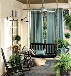 Outdoor drapery gives the porch privacy and personality. Rope on swing, rocking chairs, lights, ferns. Outdoor Curtains, Indoor Outdoor Rugs, Outdoor Rooms, Outdoor Decor, Outdoor Living, Front Porch Curtains, Roman Curtains, Purple Curtains, Nooks
