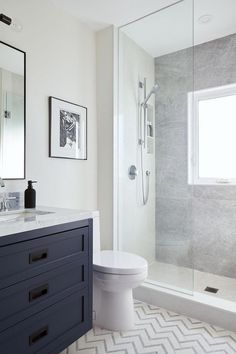 Fearsome Shower remodel beige tricks,Bathroom shower remodel before and after tricks and Tile shower remodeling diy tricks. Blue Bathroom Vanity, Navy Blue Bathrooms, Blue Vanity, Master Bathroom, Bathroom Vanities, Small Bathrooms, Bathroom Wall, Costal Bathroom, Navy Blue Bathroom Decor