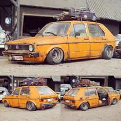 No photo description available. Volkswagen Golf Mk2, Vw Mk1, Bora Tuning, Jetta Mk1, Mk1 Caddy, Golf 2, Yellow Car, Rusty Cars, Model Cars Kits