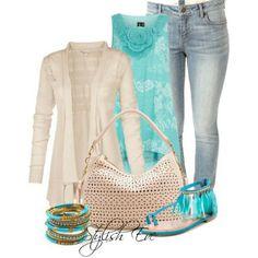 Cream n turquoise