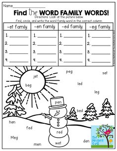Find the hidden Word Family Words and write them in the correct column! SO many FUN printables that keep students engaged!